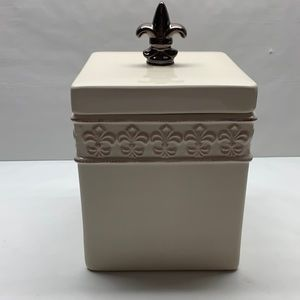 Fleur De Lis Collection ceramic treat cookie jar